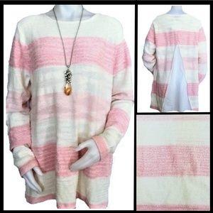 Calvin Klein Jeans Soft Pink & Cream Tunic Sweater